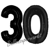 Zahl 30 Schwarz, Luftballons aus Folie zum 30. Geburtstag, 100 cm, inklusive Helium