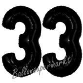 Zahl 33 Schwarz, Luftballons aus Folie zum 33. Geburtstag, 100 cm, inklusive Helium