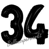 Zahl 34 Schwarz, Luftballons aus Folie zum 34. Geburtstag, 100 cm, inklusive Helium