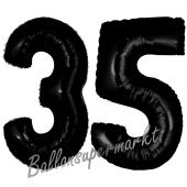Zahl 35 Schwarz, Luftballons aus Folie zum 35. Geburtstag, 100 cm, inklusive Helium
