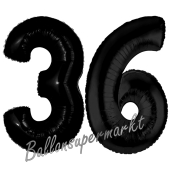Zahl 36 Schwarz, Luftballons aus Folie zum 36. Geburtstag, 100 cm, inklusive Helium