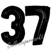 Zahl 37 Schwarz, Luftballons aus Folie zum 37. Geburtstag, 100 cm, inklusive Helium