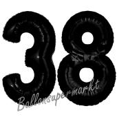 Zahl 38 Schwarz, Luftballons aus Folie zum 38. Geburtstag, 100 cm, inklusive Helium