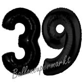 Zahl 39 Schwarz, Luftballons aus Folie zum 39. Geburtstag, 100 cm, inklusive Helium