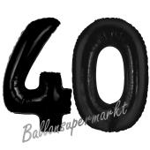 Zahl 40 Schwarz, Luftballons aus Folie zum 40. Geburtstag, 100 cm, inklusive Helium