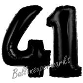 Zahl 41 Schwarz, Luftballons aus Folie zum 41. Geburtstag, 100 cm, inklusive Helium
