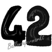 Zahl 42 Schwarz, Luftballons aus Folie zum 42. Geburtstag, 100 cm, inklusive Helium