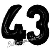 Zahl 43 Schwarz, Luftballons aus Folie zum 43. Geburtstag, 100 cm, inklusive Helium