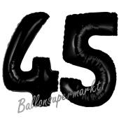 Zahl 45 Schwarz, Luftballons aus Folie zum 45. Geburtstag, 100 cm, inklusive Helium