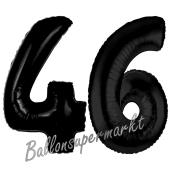 Zahl 46 Schwarz, Luftballons aus Folie zum 46. Geburtstag, 100 cm, inklusive Helium
