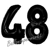 Zahl 48 Schwarz, Luftballons aus Folie zum 48. Geburtstag, 100 cm, inklusive Helium