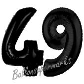 Zahl 49 Schwarz, Luftballons aus Folie zum 49. Geburtstag, 100 cm, inklusive Helium