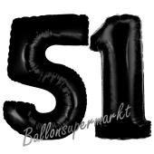 Zahl 51 Schwarz, Luftballons aus Folie zum 51. Geburtstag, 100 cm, inklusive Helium