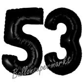 Zahl 53 Schwarz, Luftballons aus Folie zum 53. Geburtstag, 100 cm, inklusive Helium