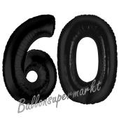 Zahl 60 Schwarz, Luftballons aus Folie zum 60. Geburtstag, 100 cm, inklusive Helium