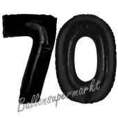 Zahl 70 Schwarz, Luftballons aus Folie zum 70. Geburtstag, 100 cm, inklusive Helium