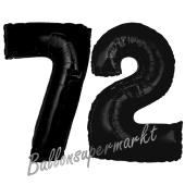 Zahl 72 Schwarz, Luftballons aus Folie zum 72. Geburtstag, 100 cm, inklusive Helium
