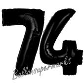 Zahl 74 Schwarz, Luftballons aus Folie zum 74. Geburtstag, 100 cm, inklusive Helium