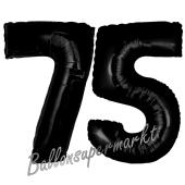 Zahl 75 Schwarz, Luftballons aus Folie zum 75. Geburtstag, 100 cm, inklusive Helium