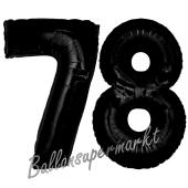 Zahl 78 Schwarz Luftballons aus Folie zum 78. Geburtstag, 100 cm, inklusive Helium