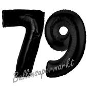 Zahl 79 Schwarz Luftballons aus Folie zum 79. Geburtstag, 100 cm, inklusive Helium