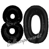 Zahl 80 Schwarz, Luftballons aus Folie zum 80. Geburtstag, 100 cm, inklusive Helium