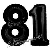 Zahl 81 Schwarz Luftballons aus Folie zum 81. Geburtstag, 100 cm, inklusive Helium