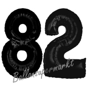 Zahl 82 Schwarz Luftballons aus Folie zum 82. Geburtstag, 100 cm, inklusive Helium