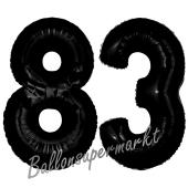 Zahl 83 Schwarz Luftballons aus Folie zum 83. Geburtstag, 100 cm, inklusive Helium