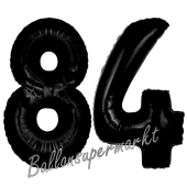 Zahl 84 Schwarz Luftballons aus Folie zum 84. Geburtstag, 100 cm, inklusive Helium