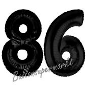Zahl 86 Schwarz Luftballons aus Folie zum 86. Geburtstag, 100 cm, inklusive Helium
