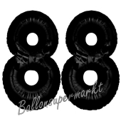 Zahl 88 Schwarz Luftballons aus Folie zum 88. Geburtstag, 100 cm, inklusive Helium