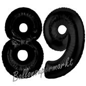 Zahl 89 Schwarz Luftballons aus Folie zum 89. Geburtstag, 100 cm, inklusive Helium