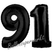 Zahl 91 Schwarz Luftballons aus Folie zum 91. Geburtstag, 100 cm, inklusive Helium