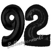 Zahl 92 Schwarz Luftballons aus Folie zum 92. Geburtstag, 100 cm, inklusive Helium