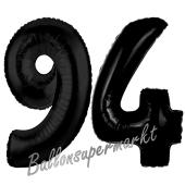 Zahl 94, Schwarz Luftballons aus Folie zum 94. Geburtstag, 100 cm, inklusive Helium