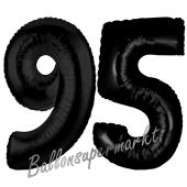 Zahl 95, Schwarz Luftballons aus Folie zum 95. Geburtstag, 100 cm, inklusive Helium