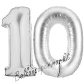 Zahl 10 Silber, Luftballons aus Folie zum 10. Geburtstag, 100 cm, inklusive Helium
