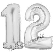 Zahl 12 Silber, Luftballons aus Folie zum 12. Geburtstag, 100 cm, inklusive Helium