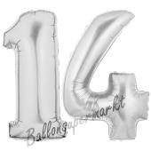 Zahl 14 Silber, Luftballons aus Folie zum 14. Geburtstag, 100 cm, inklusive Helium