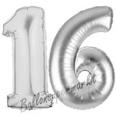 Zahl 16, Silber, Luftballons aus Folie zum 16. Geburtstag, 100 cm, inklusive Helium