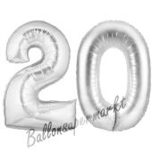 Zahl 20, Silber, Luftballons aus Folie zum 20. Geburtstag, 100 cm, inklusive Helium