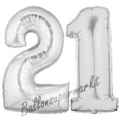 Zahl 21, Silber, Luftballons aus Folie zum 21. Geburtstag, 100 cm, inklusive Helium