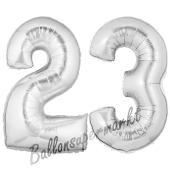 Zahl 23, Silber, Luftballons aus Folie zum 23. Geburtstag, 100 cm, inklusive Helium