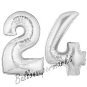Zahl 24, Silber, Luftballons aus Folie zum 24. Geburtstag, 100 cm, inklusive Helium