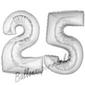 Zahl 25, Silber, Luftballons aus Folie zum 25. Geburtstag, 100 cm, inklusive Helium