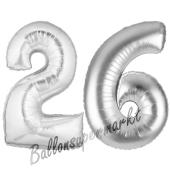 Zahl 26, Silber, Luftballons aus Folie zum 26. Geburtstag, 100 cm, inklusive Helium