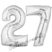 Zahl 27, Silber, Luftballons aus Folie zum 27. Geburtstag, 100 cm, inklusive Helium