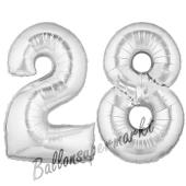 Zahl 28, Silber, Luftballons aus Folie zum 28. Geburtstag, 100 cm, inklusive Helium