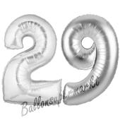 Zahl 29, Silber, Luftballons aus Folie zum 29. Geburtstag, 100 cm, inklusive Helium